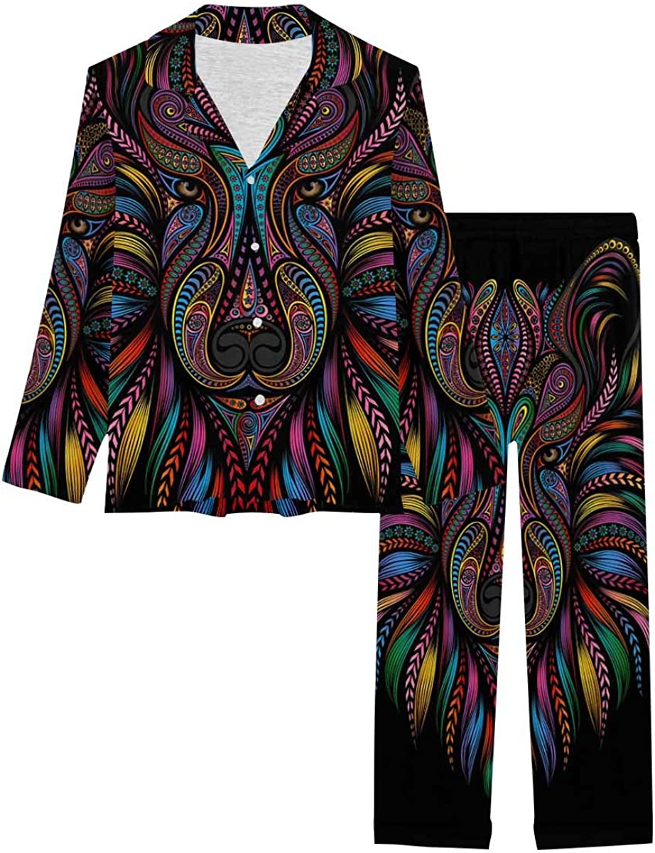 InterestPrint Long Sleeve Button Down Nightwear with Long Pants Silhouette of a Wolf