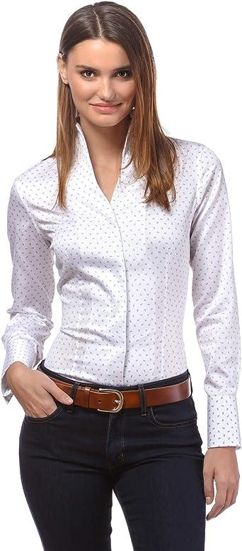 Vincenzo Boretti Camisa de Mujer, Corte Ligeramente más angosto, 100% algodón, Manga-Larga, Cuello cáliz, Lisa, fácil de Planchar, Elegante y clásica