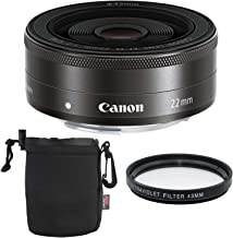 Canon EF-M 22mm f/2 STM Lens Kit with UV Filter and Lens Pouch