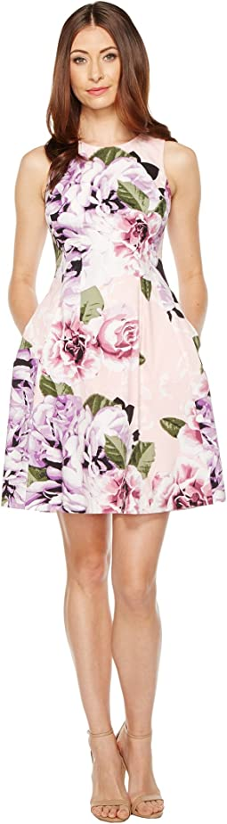 Printed Cotton Fit and Flare Dress