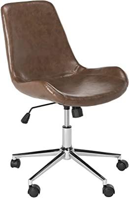 SAFAVIEH Home Collection Fletcher Brown Faux Leather/ Chrome Swivel Adjustable Height Office Desk Chair