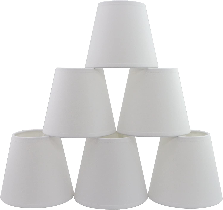 Conjunto de 6 piezas Clamp Pantalla de lámpara para lampara y lampara de pared (Blanco) / Set of 6 Clip Lamp Shade for Chandelier and wall lamp (TC White)