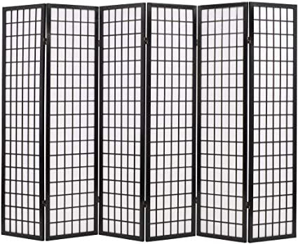 Festnight Folding Room Divider Standing Partition Privacy Screen Black Japanese Style 6 Panel Amazon Co Uk Kitchen Home