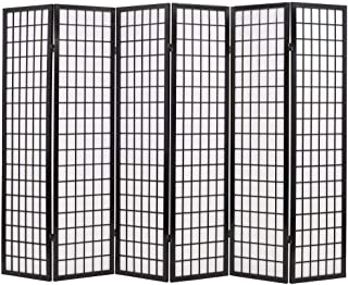Tidyard Biombo Plegable Divisor Separador de Habitaciones Espacios con 6 Paneles Estilo japonés 240x170 cm Negro