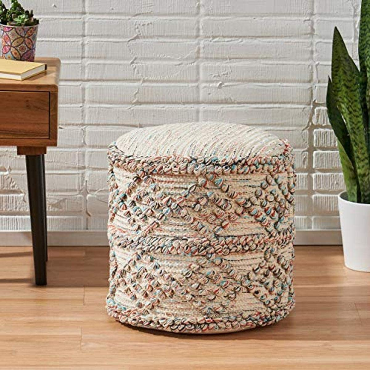 Christopher Knight Large-scale sale Home Lauren Cheap SALE Start Boho Cylinder Fabric Multic Pouf