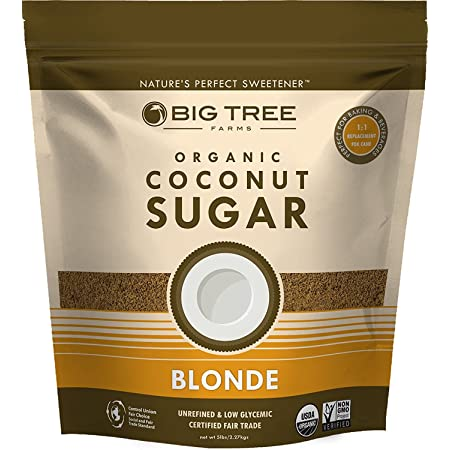 Big Tree Farms Organic Blonde Coconut Sugar, Vegan, Gluten Free, Paleo, Certified Kosher, Cane Sugar Alternative, Substitute for Baking, Non GMO, Low Glycemic, Fair Trade, 5 Pound - Packaging May Vary