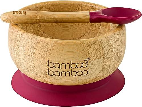 Ensemble bol pour bébé avec ventouse et cuillère assortie, stabilisation du bol par ventouse, Bambou naturel