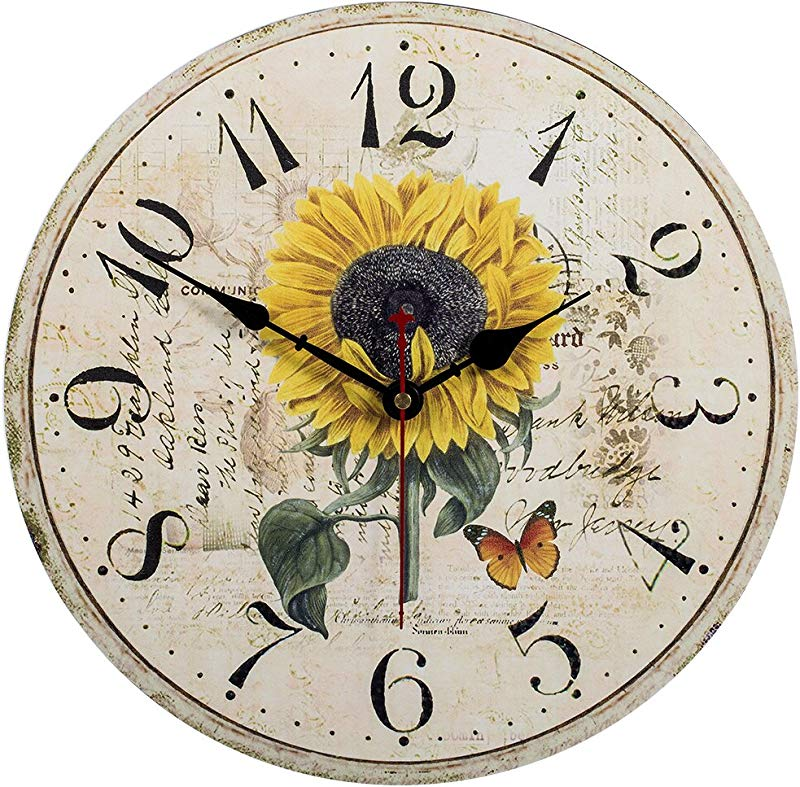 Kitchen Wall Clock Home Decorative 14 Inch Sunflower Silent Non Ticking Quartz Battery Operated Clock Large Easy To Read Vintage Wooden Style For Living Room Bedroom Kids Room And Coffee Bar