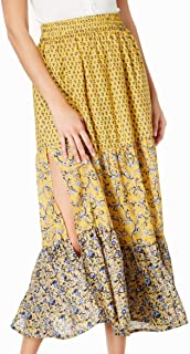 French Connection Womens Skirt Yellow US 4 Floral Print Smocked Full