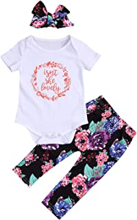 YOUNGER TREE Isnt She Lovely Newborn Infant Baby Girl Outfits Short Sleeve Top Floral Pant Headband 0-18M Clothes Set