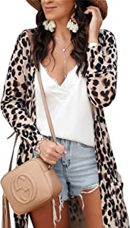 Women's Leopard Printed Cardigans Shirt Lightweight Open Front Coat Outwear with Pockets