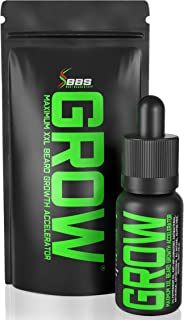 GROW Maximum XXL Beard Growth and Mustache Accelerator Serum - Beard Growth Oil for Men to Fix Patchy Beards and Fill Patc...