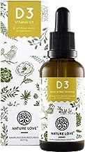 NATURE LOVE® Vitamin D3 - Vielfacher Sieger 2019* - 5000 IE pro Tropfen - Premium: sehr hohe Stabilität. Flüssig in Tropfen (50ml). Vegetarisch, hochdosiert, hergestellt in Deutschland