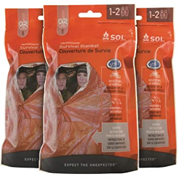 S.O.L Survive Outdoors Longer S.O.L. 90% Reflective 2-Person Survival Blanket (Pack of 3)