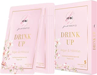 Fast Beauty Co. 5 Count Drink Up Smoothing Bio Cellulose Face Mask with Argan & Hibiscus