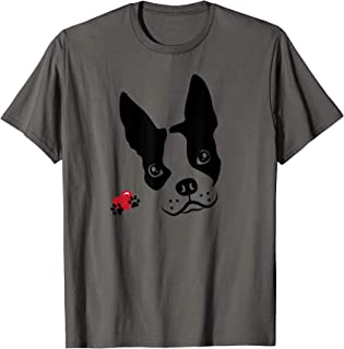I Love My Boston Terrier Dog Face with Heart and Paws T-Shirt