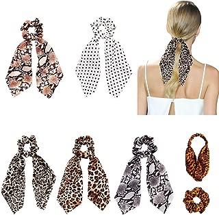 Funlovin Hair Scarf Scrunchies Leopard-print 7 Hair Scarves Satin Scrunchies Big Large Soft Hair Ties Ponytail Holder Patterned Cheetah Hair Scarfs Scrunchy Chiffon Dot Scrunchie Pack for Women Girls