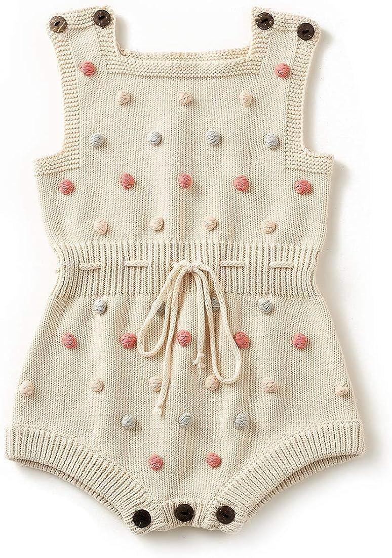 Simplee kids Baby Girl Kint Pompoms Romper Sleeveless Baby Girl