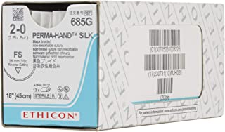 Ethicon PERMA-HAND Silk Suture, 685G, Natural Non-absorbable, FS (26 mm), 3/8 Circle Needle, Size 2-0, 18'' (45 cm)