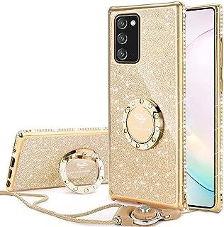 OCYCLONE for Galaxy Note 20 Case, Cute Glitter Sparkle Bling Diamond Rhinestone Bumper with Ring Kickstand, Women Girls So...
