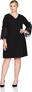 Tahari by Arthur S. Levine Women's Plus Size V Neck Shift Dress with Lace Bell Sleeve Details
