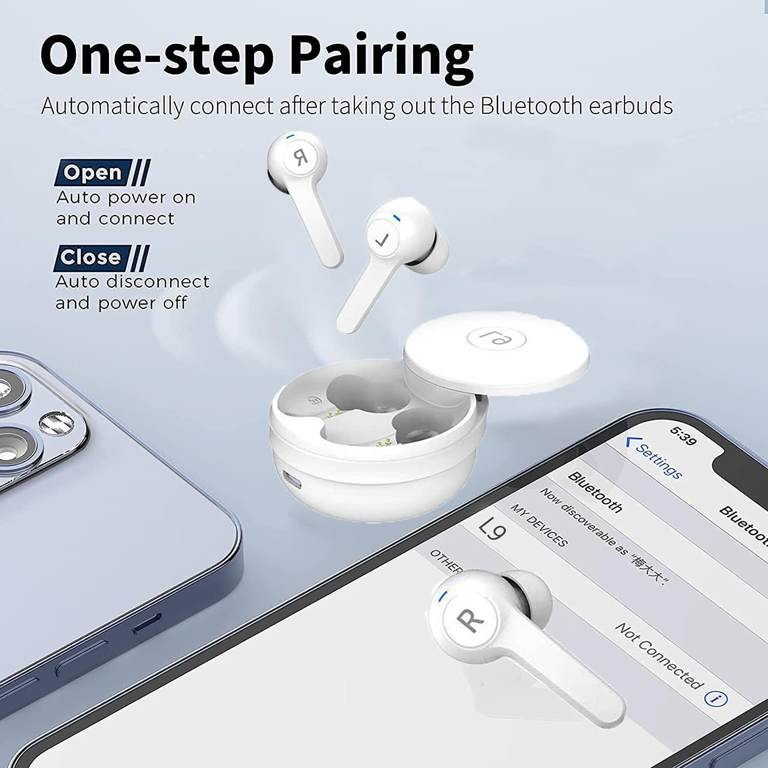 Wireless Headset Bluetooth 5.0 Noise Reduction IPX5 Waterproof Headset Sliding Cover Portable Charging Box can Automatically Pair with Built-in Microphone, Suitable for Sports Gym Work (White)