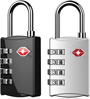DOCOSS 309-TSA Approved Lock 4 Digit for USA Number Locks (Black, Silver) - Pack of 2