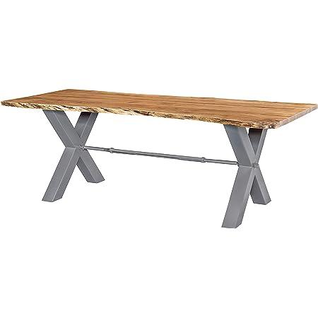 MASSIVMOEBEL24.DE Table à Manger 180x100cm - Bois Massif d'acacia laqué (Bois Naturel/Gris)- Iron Label #120