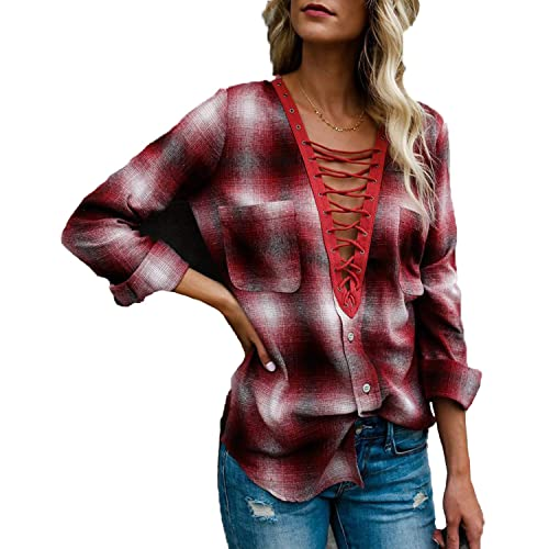 e28a525fbcc23c Kyerivs Women s Plaid Shirts Lace up Long Sleeve V Neck Criss Cross Casual  Loose Blouse Tops