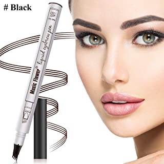 Aliceva Eyebrow Tattoo Pen, Waterproof & Smudge-Proof Microblading Eyebrow Pencil, Micro-Fork Tip Applicator for Daily Natural Eye Makeup (Black)