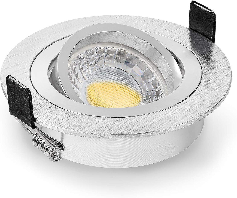 5 x LED Einbaustrahler Set von LEDOX dimmbar & schwenkbar inkl. Einbaurahmen 230V 7W GU10 warm-wei (3000K 5er Set)