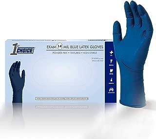 1st Choice Exam 14 Mil Blue Latex Gloves - Powder Free, Textured, Non-Sterile, XLarge, 1EBLXLBX, Box of 50