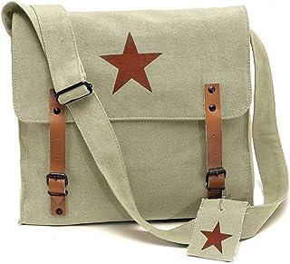 510ef61d3f Khaki Vintage Army Medic Shoulder Messenger Bag w  Brown Star Emblem