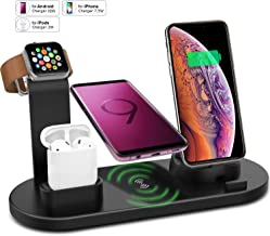 Wireless Charger Stand for iPhone Apple Watch Airpods, VRURC 3 in 1 Wireless Charging Dock Station Qi Fast Charging Pad for iPhone X/XS/XR/8/8 Plus for iWatch 4/3/2/1 S9 Max