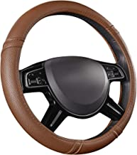 CAR PASS Classical Leather Automotive Universal Steering Wheel Covers,Universal Fit for Suvs,Trucks,Sedans,Cars,Vans(Brown)