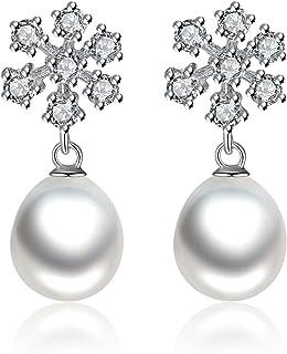 Gemshadow donne 925sterling Silver Snowflake, zirconia cubica, 8–9mm perla coltivata orecchini