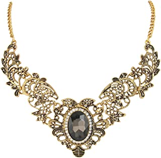 Women's Vintage Inspired Crystal Floral Scroll Statement Necklace