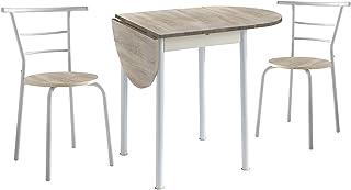 Conjunto Mesa de Cocina Extensible y 2 Sillas - Modelo Leva - Estilo Moderno - Acabado Color Roble/B