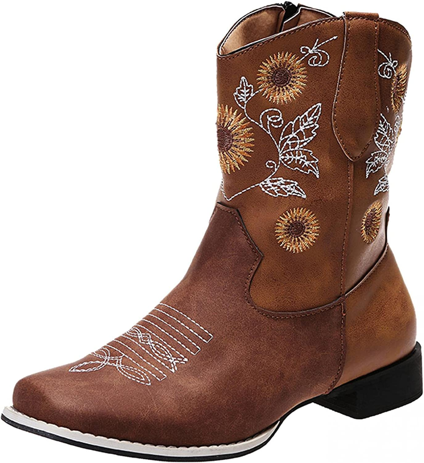 soyienma Cowboy Boots for Women Western Sunflowers Embroidery Cowgirl Boots Mid Calf Boots Chunky Heel Square Toe Pull On Shoes