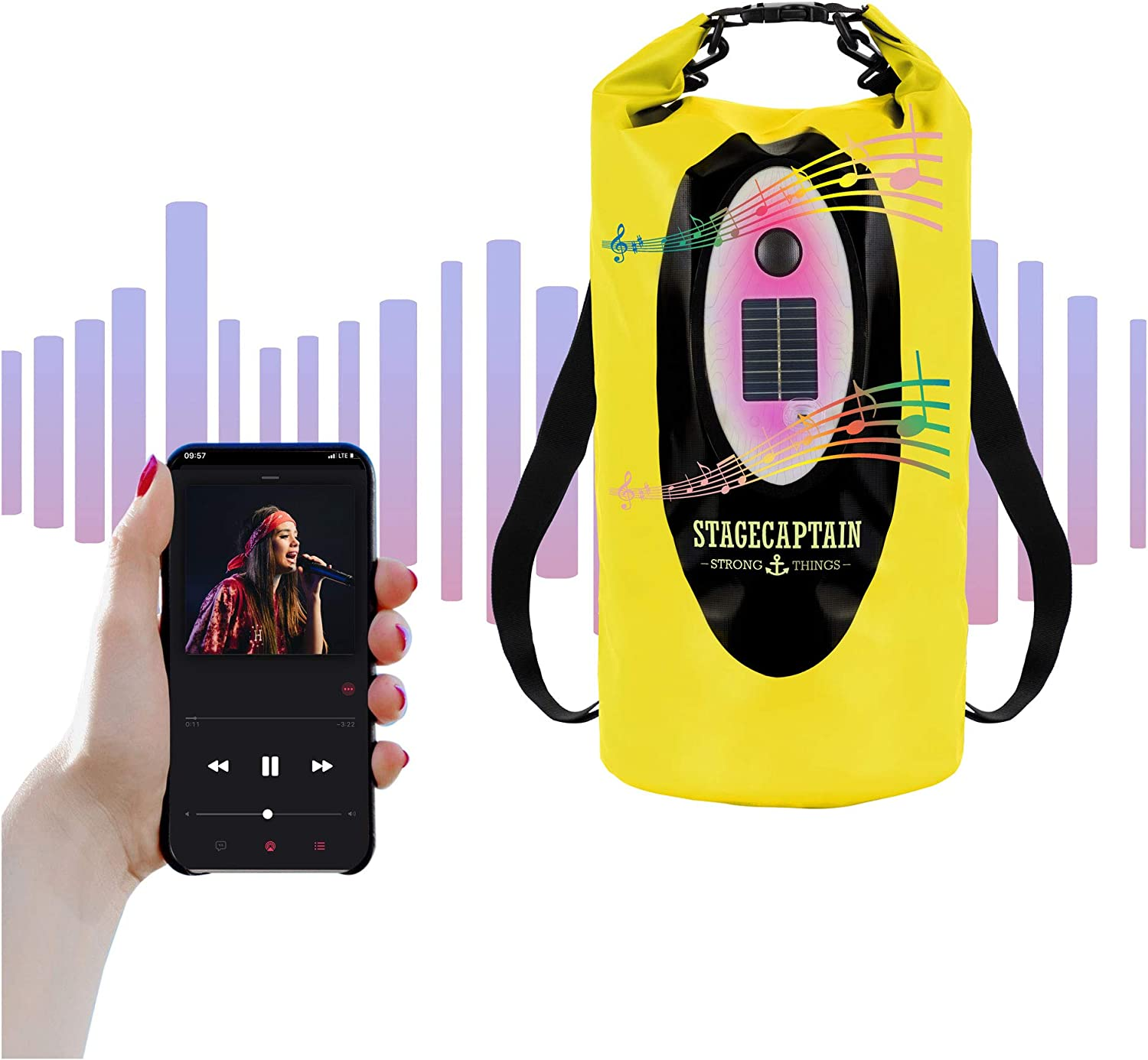 Stagecaptain DB-20G 20L Dry Bag Waterproof Bag for Festivals Includes 2 Backpack Straps Integrated Bluetooth Speaker with LED Light SUP Practical Solar Panel Camping /& Beach