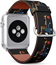 (Soccer Player Shooting a Ball with Overhead Kick Posture) Patterned Leather Wristband Strap for Apple Watch Series 4/3/2/1 gen,Replacement for iWatch 38mm / 40mm Bands