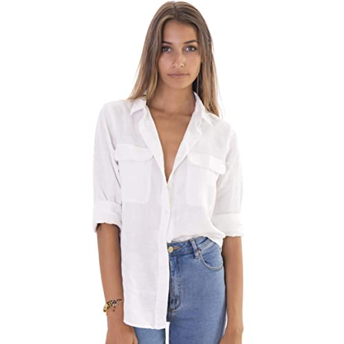 c17ebdc2ef CAMIXA Womens 100% Linen Button Down Shirt Casual Basic Blouse Pockets  Loose Top