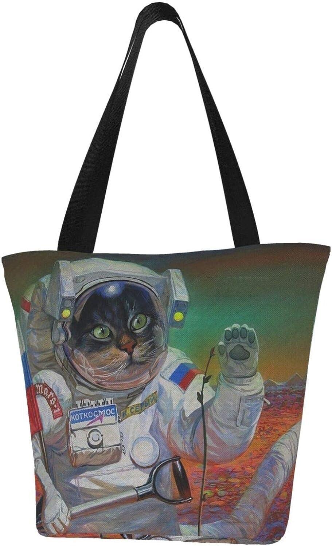 Russian Flag Cat Astronaut Space Themed Printed Women Canvas Handbag Zipper Shoulder Bag Work Booksbag Tote Purse Leisure Hobo Bag For Shopping