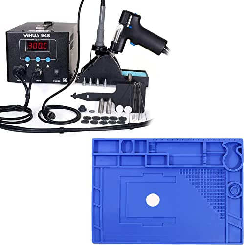 """discount YIHUA lowest 948 Professional Desoldering Station (Upgraded) bundle with 17.32"""" x new arrival 12.20"""" M180 Electronic Repair Mat Bundle with Iron holder, Soldering Cleaning Kit and Accessories (29 Items) sale"""