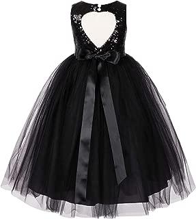 Heart Cutout Sequin Junior Flower Girl Dress Christening Dresses 172seq