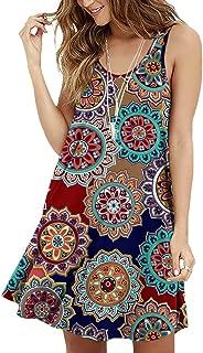Viishow Women's Summer Sleeveless Casual Swing Simple T-Shirt Loose Dresses