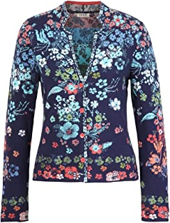 IVKO Floral Rhapsody Pattern Jacket in Marine Cotton Button Up Cardigan Sweater