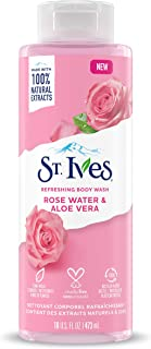 St. Ives Body Wash Refreshing Cleanser Rose Water & Aloe Vera Made with Plant-Based Cleansers & 100% Natural Extracts 16 oz