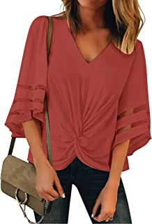 ACKKIA Women Casual V Neck Twist Knot 3/4 Bell Sleeve Mesh Panel Blouse Shirt Top
