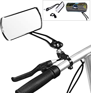 HAPTIME Aluminum Alloy Bycicle Rear View Mirrors, Handlebar End Bike Rectangle Mirrors Support 360° Rotation for MTB Mountain Road Cycling Bicycle Electric Bike - 1 Pair